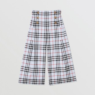 Burberry Childrens Check Cotton Sailor Trousers
