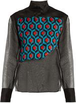 DELPOZO Asymmetric-panel silk-organza blouse