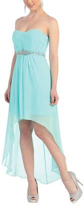 MayQueen Women's Special Occasion Dresses Aqua - Aqua Mesh-Overlay Hi-Low Dress - Women & Plus