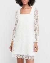 Express Crocheted Mixed Lace Babydoll Dress