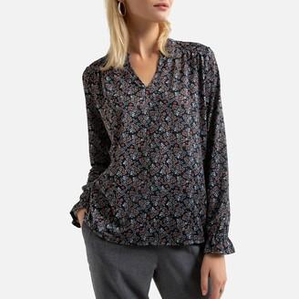 Anne Weyburn Printed Grandad-Collar T-Shirt with Long Sleeves