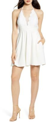 Speechless Scalloped Lace Bodice Halter Minidress