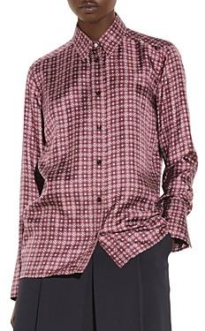 Sandro Thia Printed Silk Shirt