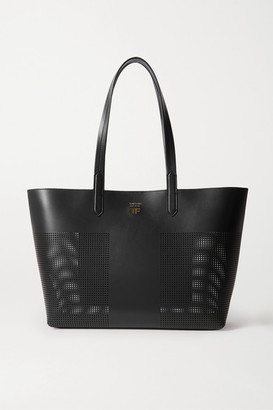 Tom Ford T Medium Perforated Leather Tote - Black