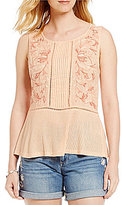 Lucky Brand Sleeveless Floral Print Embroidered Mix Shell