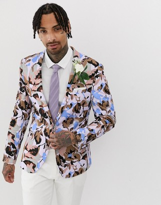 Asos Design DESIGN wedding skinny blazer with allover floral print in lilac-Purple