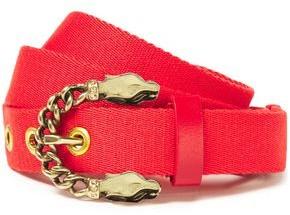Maje Crystal-embellished Leather-trimmed Canvas Belt