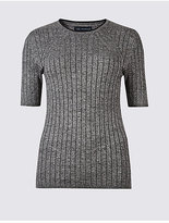 M&S Collection Ribbed Split Cuff Short Sleeve Jumper
