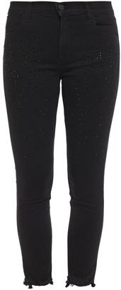 J Brand Alana Crystal-embellished Distressed High-rise Skinny Jeans