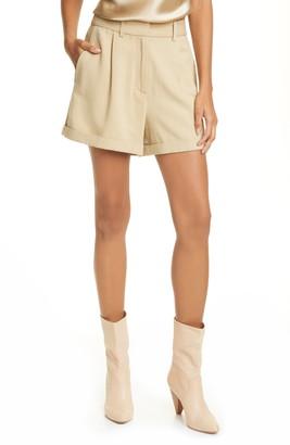 Nili Lotan Napa Pleated High Waist Twill Shorts