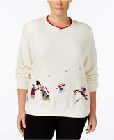 Alfred Dunner Plus Size Embroidered Holiday Sweater