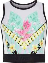 River Island Girls lilac floral spliced crop top