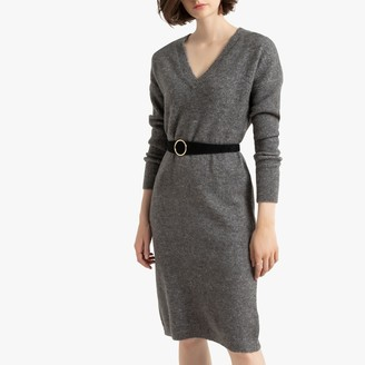La Redoute Collections Long-Sleeved Jumper Dress with V-Neck