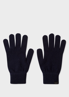 Men's Dark Navy Cashmere And Merino Wool Gloves