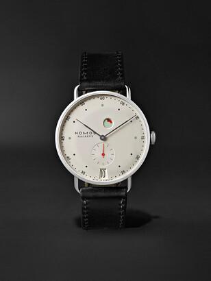 Nomos Glashütte Metro Datum Gangreserve 37mm Stainless Steel And Leather Watch, Ref. No. 1101