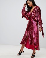 Asos Edition EDITION sequin batwing midi dress with bow detail
