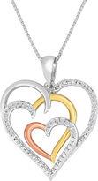 JCPenney FINE JEWELRY ForeverMine 1/10 CT. T.W. Diamond Heart Tri-Tone Pendant Necklace