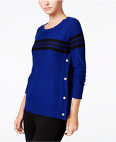 Maison Jules Striped Button-Detail Sweater, Only at Macy's