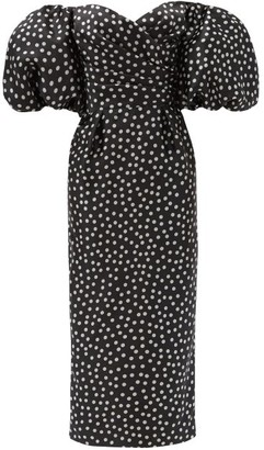 Rasario Off-the-shoulder Polka-dot Silk Midi Dress - Black White