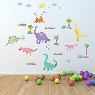 Mural Walplus Happy Dinosaurs Kids Children Babies Room Nursery Comic Book Toy Store Office Décor Removable Self-Adhesive Decoration Art Decal Wall Stickers, Multi-Colour, 150 x 110 cm