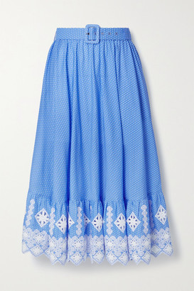 Miguelina Debbie Embroidered Polka-dot Cotton-poplin Midi Skirt - Blue