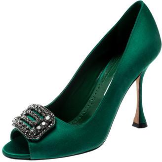 Manolo Blahnik Green Satin Crystal Embellished Peep Toe Pumps Size 38.5