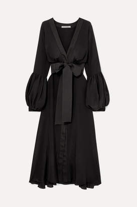 Silvia Tcherassi Faraolillo Belted Silk-satin Midi Dress - Black