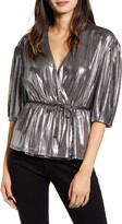 Rebecca Minkoff Mary Metallic Wrap Top