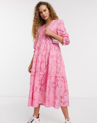 Selected lace midi dress with volume sleeves in pink