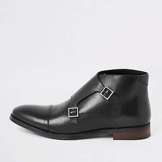 River Island Black leather monk strap boot