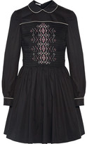 Miu Miu Smocked Embroidered Cotton Mini Dress - Black