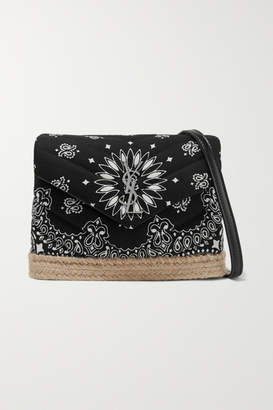 Saint Laurent Loulou Toy Leather And Jute-trimmed Quilted Printed Cotton Shoulder Bag - Black