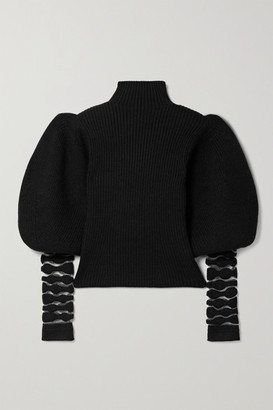 Loewe Mesh-trimmed Wool And Alpaca-blend Turtleneck Sweater - Black