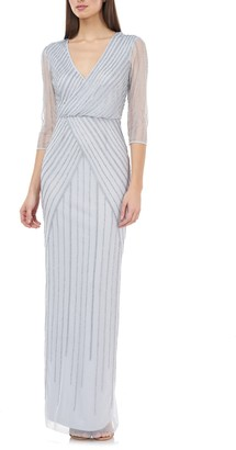 JS Collections Beaded Surplice Gown
