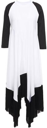 Marques Almeida Asymmetric Fringe-trimmed Draped Cotton-jersey Midi Dress