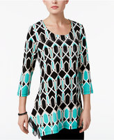 JM Collection Geo-Print Chiffon-Hem Tunic, Only at Macy's