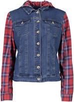 Live A Little Red Plaid & Blue Denim Hooded Jacket
