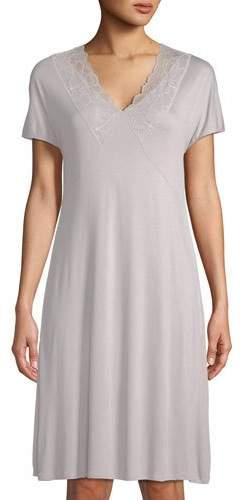 Hanro Rose Short-Sleeve Lace-Trim Nightgown