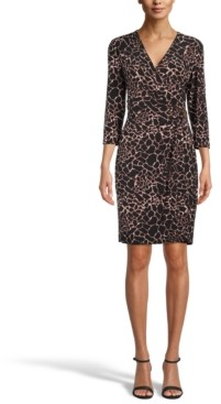 Anne Klein The Signature Printed Faux-Wrap Dress