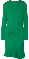 Roberto Cavalli Embellished Gathered Stretch-jersey Mini Dress - Forest green