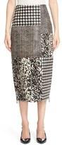 Jason Wu Genuine Calf Hair & Lambskin Leather Patchwork Skirt