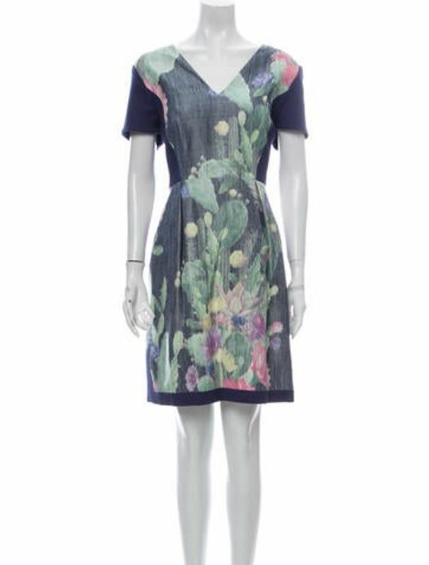 Matthew Williamson Printed Knee-Length Dress w/ Tags Blue