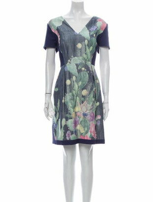Matthew Williamson Printed Knee-Length Dress w/ Tags Blue