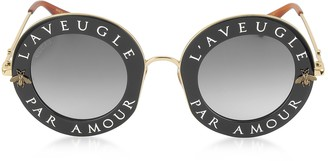 Gucci GG0113S Acetate and Gold Metal Round Women's Sunglasses