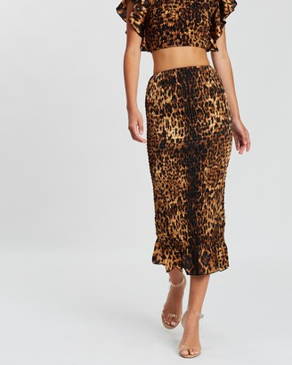 Missguided Co Ord Leopard Print Shirred Midaxi Skirt