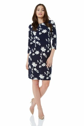 Roman Originals Women Floral Print Ponte Dress - Ladies Autumn Winter Smart Casual Work 3/4 Sleeve Tunic Bohemian Classic Knee Length Tea Loose - Navy Blue & White - Size 18