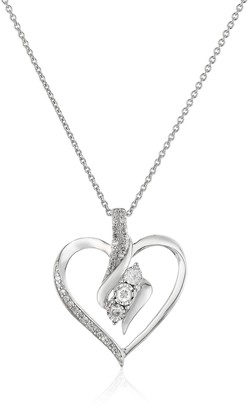 """Amazon Collection Sterling Silver Diamond 3 Stone Heart Pendant Necklace (1/4 cttw) 18"""""""