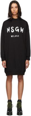 MSGM Black Fleece Brushstroke Logo Dress