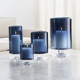 Crate & Barrel London Blue Hurricane Candle Holders