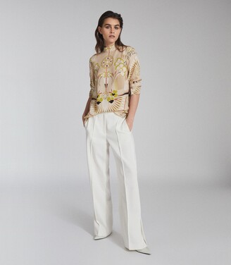 Reiss Beth - Printed High Neck Blouse in Neutral
